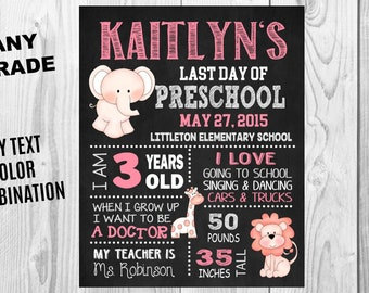 Elephant Lion Giraffe Last Day of School Chalkboard Poster Sign, First Day of School Sign, Printable, Graduation Gift, Photo Prop Any Grade