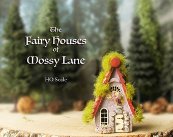 The Fairy Houses of Mossy Lane - Handcrafted Cottage in Pastel Purple w/ Mossy Shingled Roof, Blooming Flower Boxes, Wooden Door and Crystal