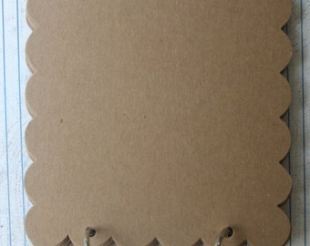 8 Pg Bare Scalloped chipboard square album 5 1/4 inches with 2 bookrings
