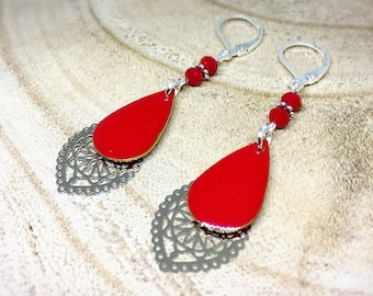 Earrings ethnic prints filigree and Red sequins