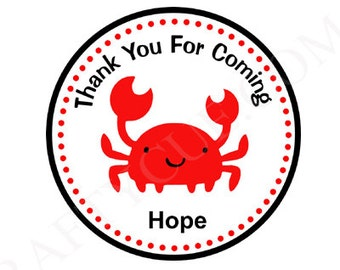 Crab Goody Bag Tags, Crab Favor Tags, Crab Favors, Crab Birthday, Crab Party, Crab Decorations, Under the Sea Favor Tags