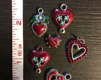 Lot of 6 Heart Motif Charms / Beads - Hand painted