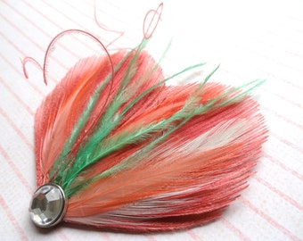 DREAM in Coral, Mint, Shrimp, and Pink Peacock Feather Hair Clip, Feather Fascinator