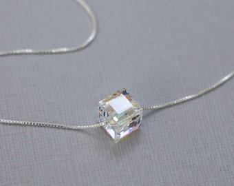 Swarovski Cube Necklace, Sterling Silver Necklace, Crystal Layering Necklace, Gift for Her, Casual Necklace, Everyday Necklace, Gift for Mom
