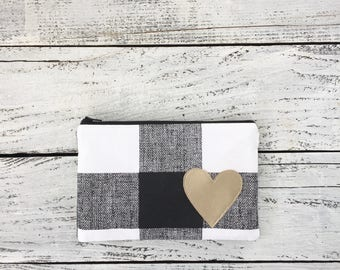 Black and White Plaid Zipper Pouch Cosmetic pouch Cute Pouch Medium clutch bag small makeup bag Gift for Her Gift Under 20
