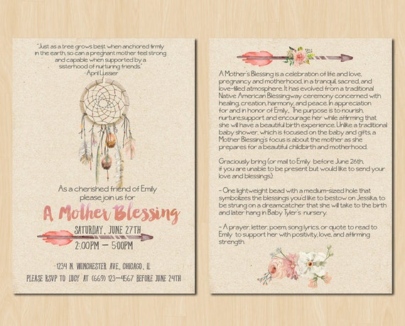 Dream catcher mother blessing invitation blessingway stopboris Gallery