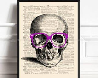 Skull Office Decor, Sister Brother Gift, Nerdy Skull, Sister Gift, Geek Skull Decor, Funny Home Art, Funny Groomsmen Gift, Nerd Glasses 190