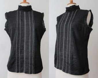 Black Vintage Blouse With White Stitching // High Neckline // Swati Sample