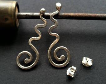 Sterling Silver Wavy Swirl Earrings on 925 Posts