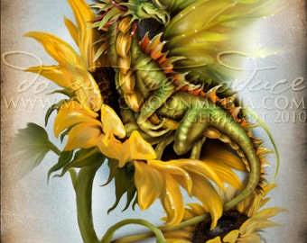 Season of the Drakon.. Dragon... Print... Fantasy Art...Summer Dragon on Sunflower .. Bold