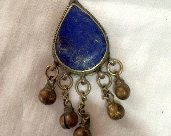 Vintage Lapis blue tear drop blue pendant brass bell/balls necklace jewelry