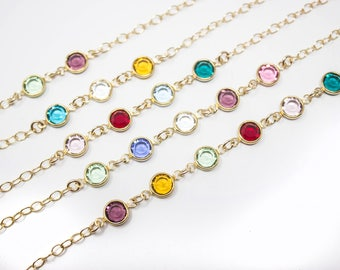 Grandmother Bracelet, Grandma Gold Birthstone Bracelet, Choose your Birthstone Crystals