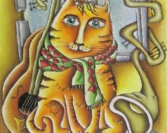 Cat, guitar, window