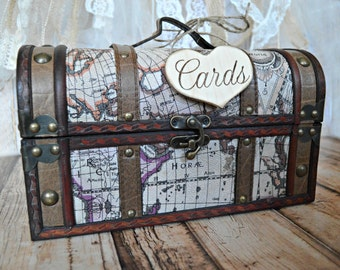 Trunk-large-old world-distressed-shabby-wedding-card holder-card box-wood trunk-card sign-map-vintage inspired-wedding trunk-decoration-