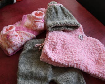 hand knitted baby girl 3 month set