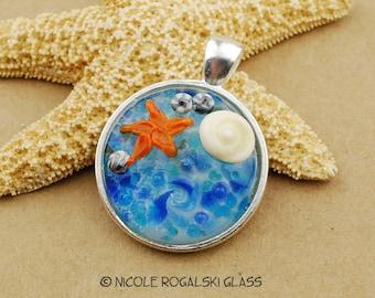 Lampwork Ocean n Starfish Pendant - Handmade Glass Jewelry