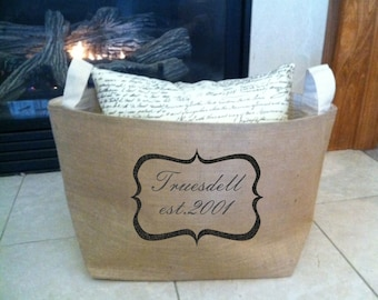 large lined burlap storage basket with framed name and date, burlap storage container, burlap bin