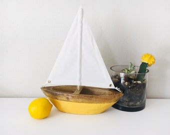 Beach Décor Yellow Ship  Wooden by SEASTYLE