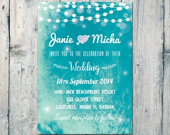 Digital Printable Files - Blue Lights Night Wedding Invitation RSVP Thank You Invitation Set - ID592