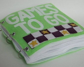 Games to Go | Quiet Book Pattern, Busy Book Pattern, Travel Toys, Travel Games