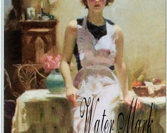 Digital download Instant*Girl apron looks handpainted * Decoupage, collage,sewing.greeting cards,gift tags,price tags,bookmark