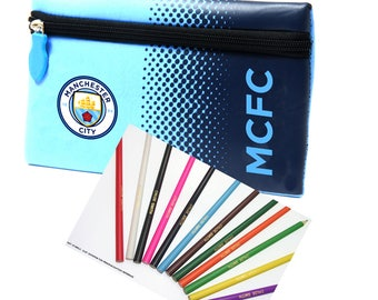 Personalised Manchester City FC Pencil Case & 12 Stabilo Colouring Pencils