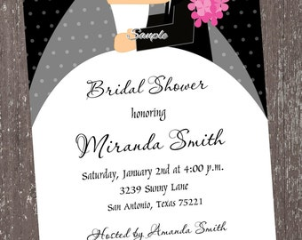 Bride and Groom Bridal Shower Invitations