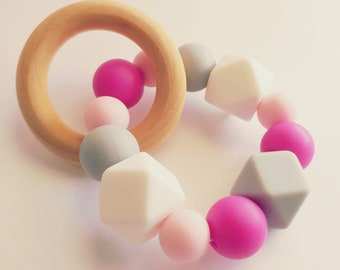 Hex Love - Wood & Silicone Teething Ring