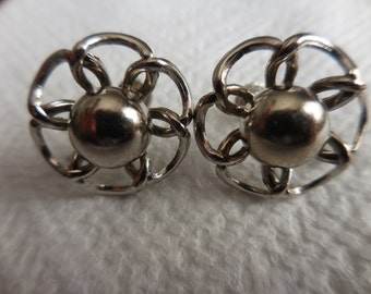 Vintage 1960s to 1970s Silver Tone Small Round Flower Like Screw Back Earrings Non Pierced