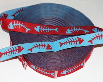 "7/8"" Wide Bonefish Jacquard Ribbon- Light Blue and Red-Woven-Reversable"