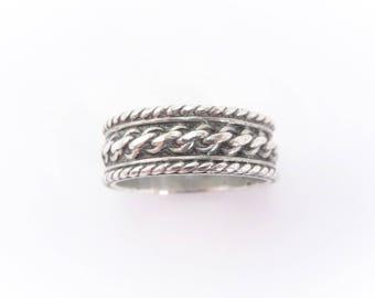 Vintage Sterling Rope Design Band Ring Size 6.75