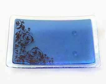 Sapphire Damask Fused Glass Dish Handcrafted Plate Trinket Blue