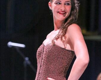 shiny brown corset