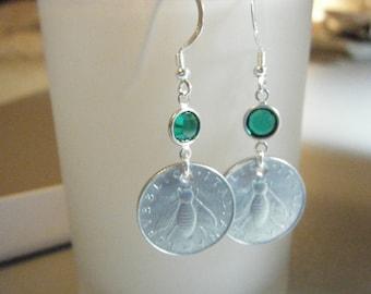 Italian Lire Bee Coin Emerald Green Swarovski Crystal Dangle Earrings