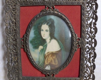 Vintage Framed Romantic Portrait Lady Mid 19th Century, 1830s Young Woman Portrait Red Fabric Dark Metal Filigree Frame