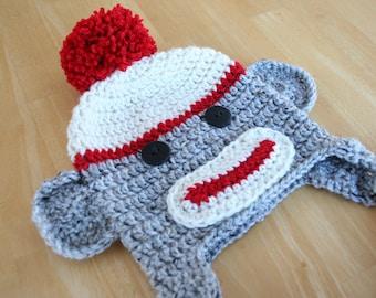 Sock monkey hat, newborn hat boy, newborn hat girl, crochet monkey, newborn photo prop, Newborn to 12 month sizes available