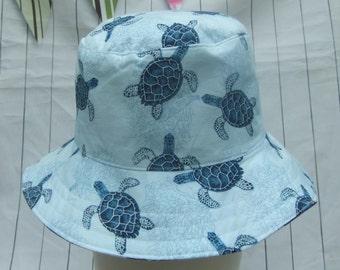 Toddler SUN HAT - Kids Blue Summer Bucket Hat  - Baby Reversible Hat  Seaside Beach Hat - Turtle & Stars - Sizes 3-6 6-12mths 1-2 years