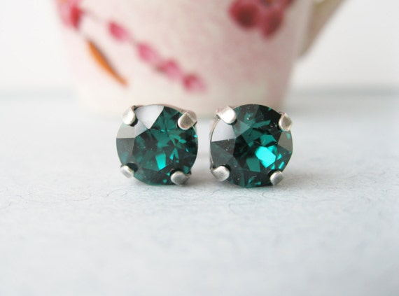 Green Stud Earrings Swarovski Elements Rhinestone Studs May Birthday Your Choice of Metal Silver Gold Rose Gold Antique Brass Gift Under 15