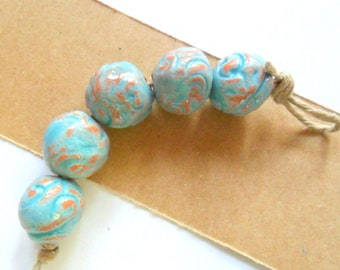 13mm Rustic Terra Cotta Clay Kiln Fired Beads with Distressed Turquoise Glaze, set of 5