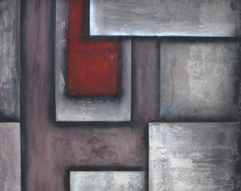 RED BLOCK unique silver maroon red texture big modern Large textured abstract art black white red square