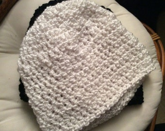 Cream hand crocheted beanie hat