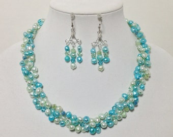 Teal Blue and Soft Green Cultured Pearl, Swarovski Crystal, Non-Tarnish Silver Plated Wire, Wire Crochet, Necklace, Earrings
