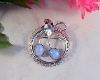 Vintage White Gold Filled Brooch Pin With Blue Moonglow Stones Circular Brooch Pin Gift For Her