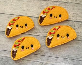 """4 kawaii taco felies 1.25""""x 2.25"""""""
