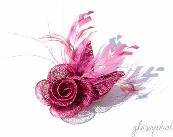 Violet red Fascinator 2 in1 Hair Clip and Brooch
