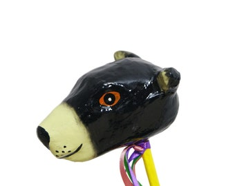 Mexican Paper Mache Bear Rattle Hand Painted.