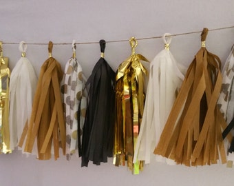 Black and Gold 20 Tassel Academy Awards Tissue Paper Garland, Black and Gold Oscars Party Decorations, Tissue Tassels, Wedding Decorations