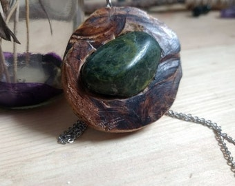 Driftwood and Moss Agate Necklace
