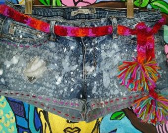 Embellished hand splattered shorts.