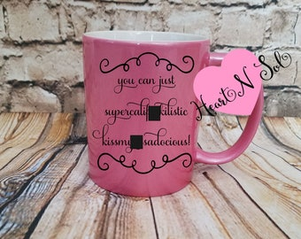 kiss my butt, pink glitter mug, pink glitter, Mothers day gift, Gift for her, Ceramic Coffee cup, Hot cocoa mug